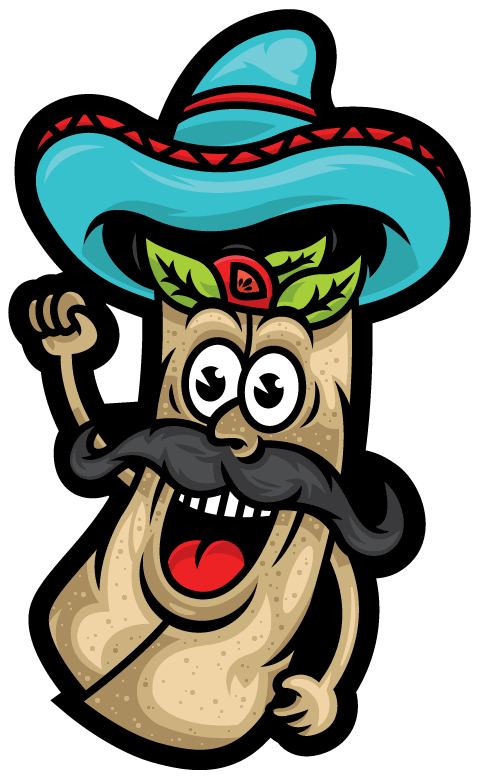 Illustration of Gringos Locos burrito bandido character